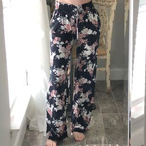High waisted flare pants with floral design
